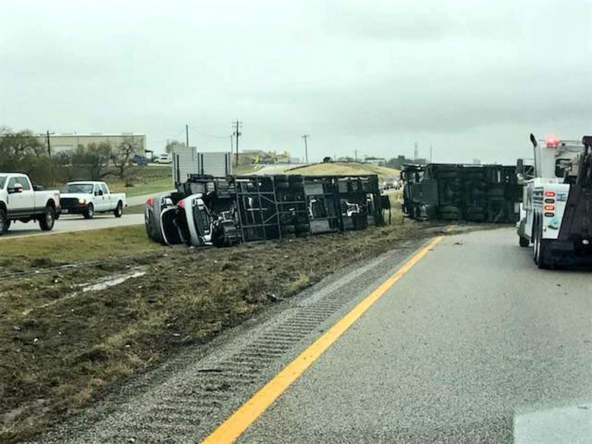 The crash was reported around 11:30 a.m. Authorities said traffic is backed up and drivers should avoid the area near I-10 and FM 725.
