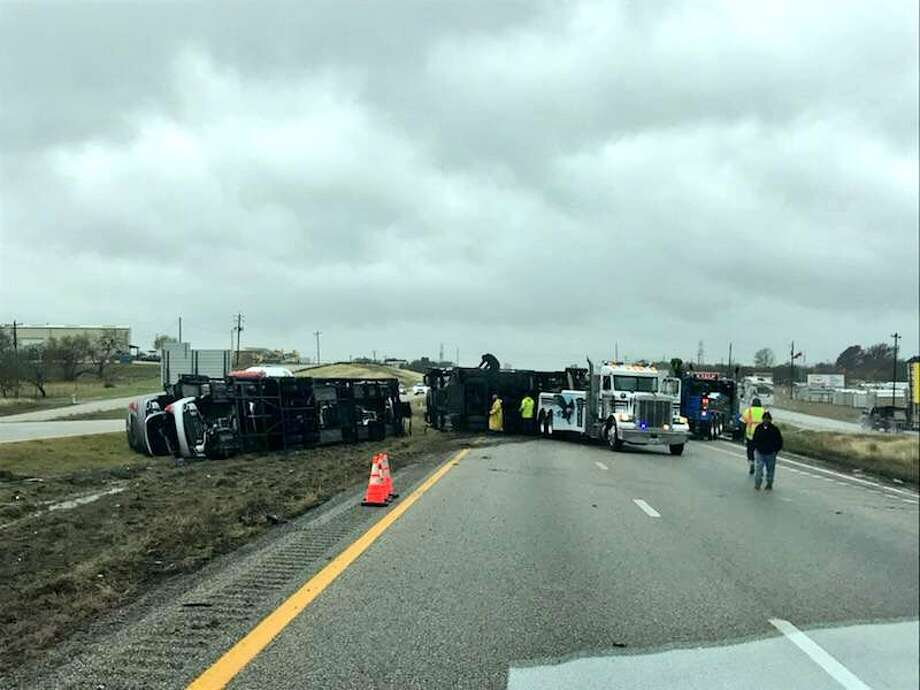 The crash was reported around 11:30 a.m. Authorities said traffic is backed up and drivers should avoid the area near I-10 and FM 725. Photo: Seguin Police Department