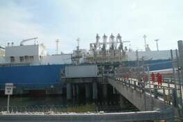 Dynagas' Lena River liquefied natural gas carrier was docked recently at Cheniere Energy's Sabine Pass terminal to pick up LNG en route to India.