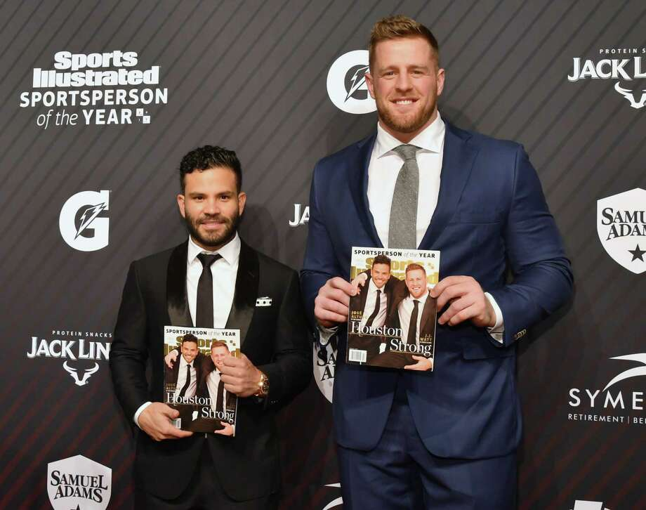 The Astros' Jose Altuve (left and Texans' J.J. Watt wille be honored as Sports Illustrated's co-Sportsperson of the Year during Friday's show on NBC Sports Network. Photo: Slaven Vlasic, Stringer / 2017 Getty Images