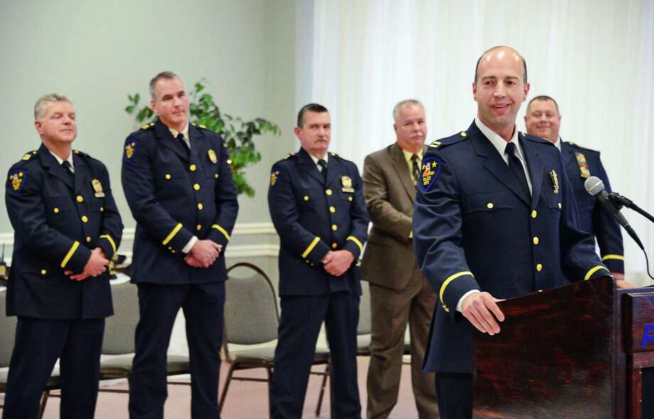 New assistant chief Brian Owens speaks during his promotion ceremony Thursday Dec. 7, 2017 in Troy, NY.  (John Carl D'Annibale / Times Union) Photo: John Carl D'Annibale, Albany Times Union / 20042331A