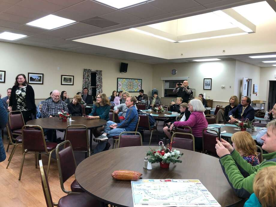 A group of about 50 people attended Barkhamsted's swearing-in ceremony at the town's senior center, which was officiated by Lieutenant Governor Nancy Wyman. Photo: Photo Courtesy Of Don Stein /Not For Resale