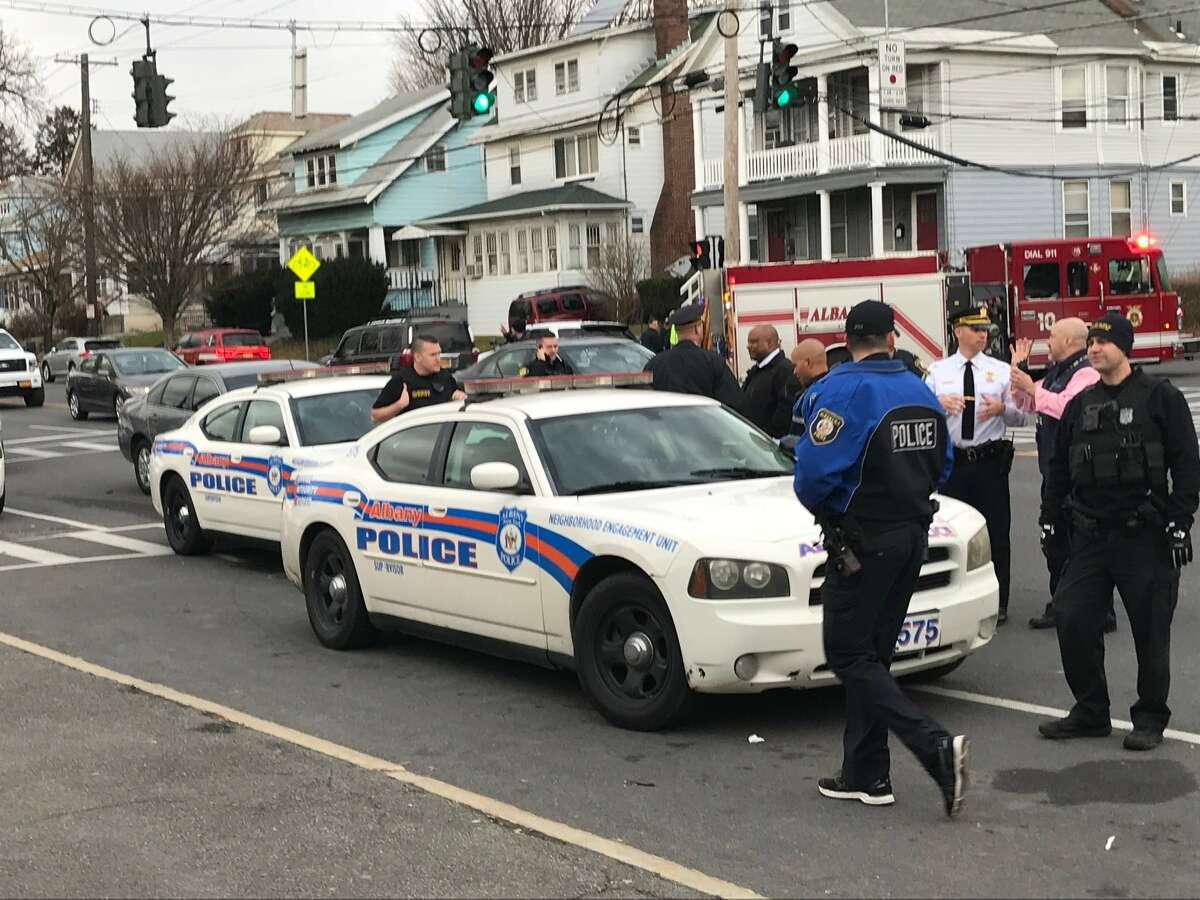 Police respond to Albany High School in Albany, NY, on Thursday, Dec. 7, 2017, after a series of fights broke out among groups of students during what a district spokesman called an