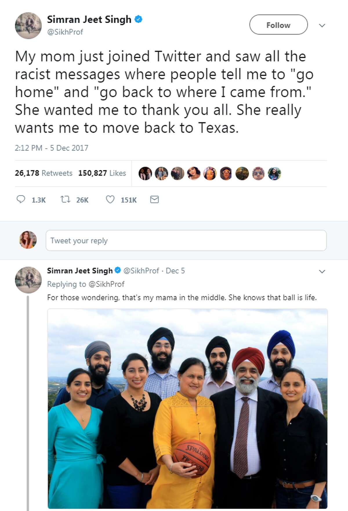 @SikhProf: My mom just joined Twitter and saw all the racist messages where people tell me to