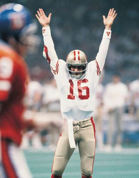 San Francisco 49ers quarterback Joe Montana celebrates against the Denver Broncos in Super Bowl 24 at the Louisiana Superdome. Photo: Sporting News Archive, Sporting News Via Getty Images