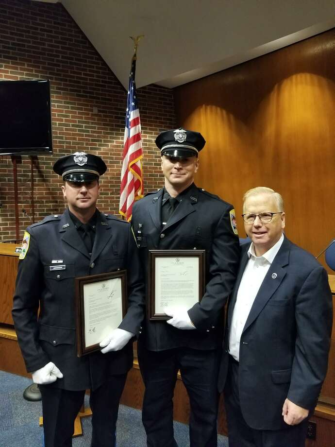(From left to right) Detective Ralph Anderson, Detective John Basile and Mayor Mark Boughton Photo: Contributed Photo