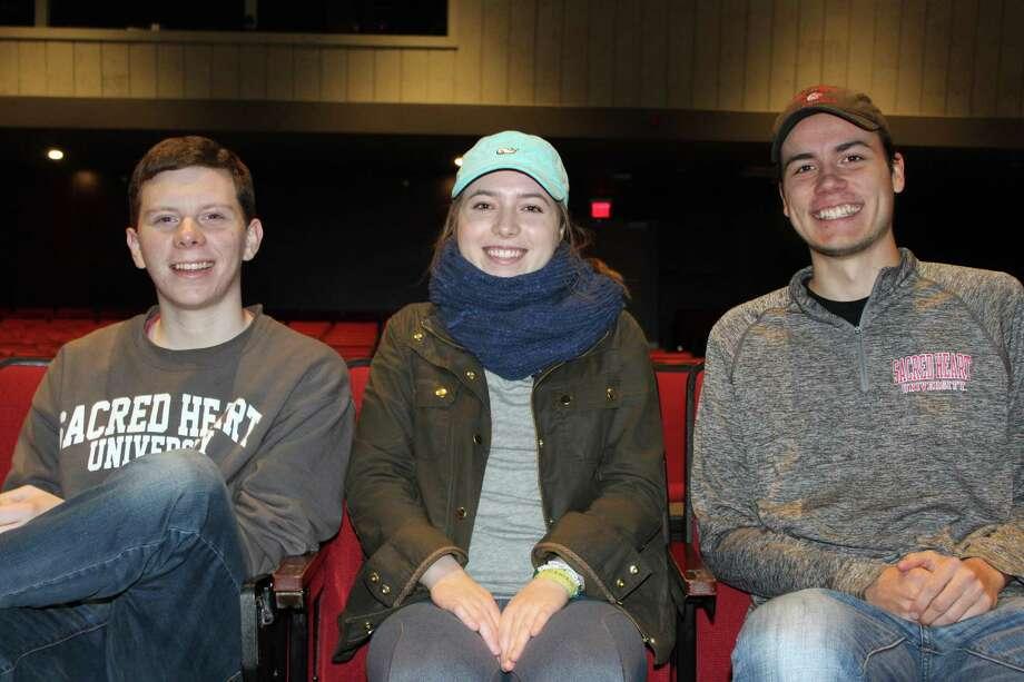 Sean Whelan, Cassie Simonides and Logan Cook at Sacred Heart University in Fairfield on Monday. Photo: Justin Papp / Hearst Connecticut Media / Fairfield Citizen