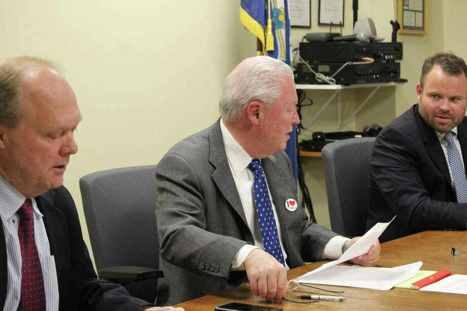 Selectman Kevin Kiley, from left, First Selectman Mike Tetreau, and Selectman Chris Tymniak, decided to clarify just what they want the building committee for the H. Smith Richardson Clubhouse to focus on. Photo: Genevieve Reilly / Hearst Connecticut Media / Fairfield Citizen