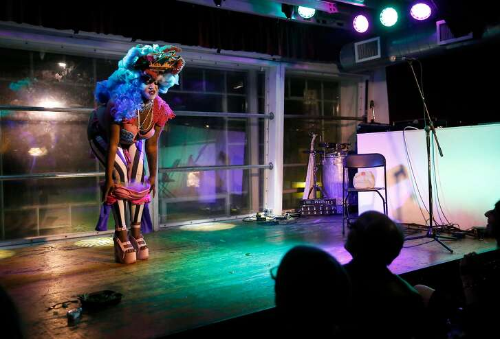 Vallejo resident Latashia Govan, who goes by the stage name Sgt. Die Wies, performs at DNA Lounge in San Francisco on Monday, November 20, 2017. Govan, whose performances often involve elaborate costumes, challenges body image stereotypes on stage. �It�s so much more than taking off your clothes and a lot of people don�t know that. They think that you�re just up there to be a sexual object,� says Govan, �They don�t think that you�re up there trying to break body stereotypes or type casts and all the different constraints that society tries to put on us.�