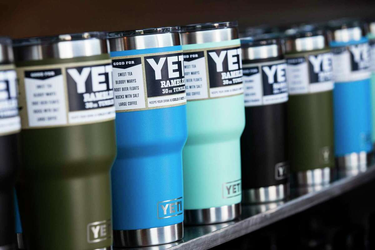 Yeti ramblers are shown during a product unveiling party at the Yeti signature store in Austin in 2017.