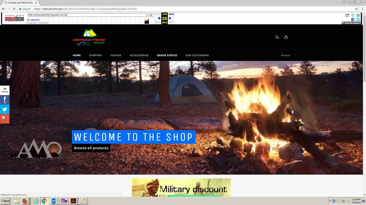 A screengrab of the now-defunct campingandfishingoutlet.com website off of Wayback Machine.
