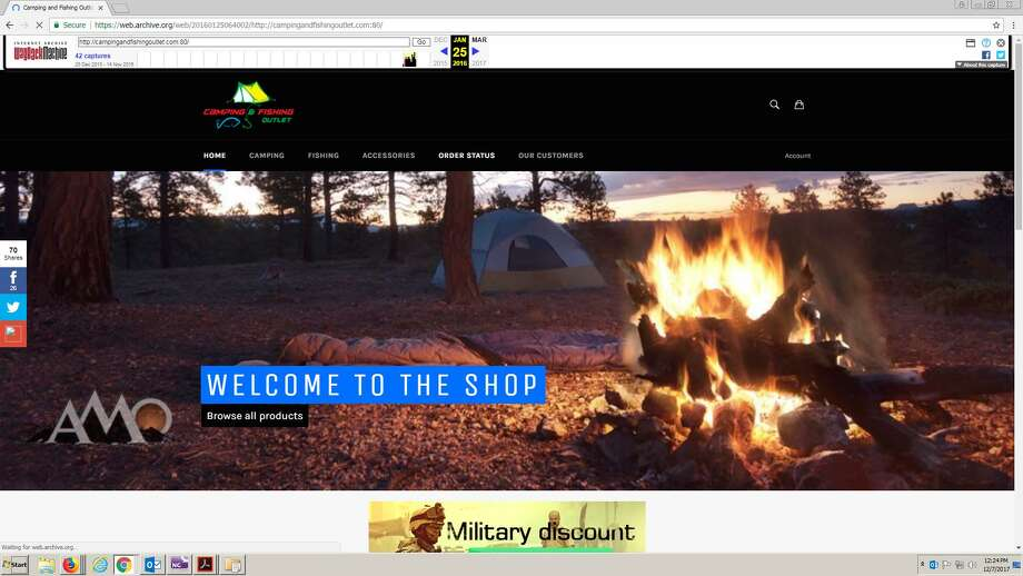 A screengrab of the now-defunct campingandfishingoutlet.com website off of Wayback Machine. Photo: Screengrab