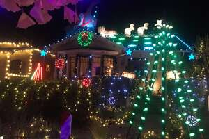 """3200 block of Thompson Ave., Alameda, Alameda County   A walking  neighborhood, known locally as """"Christmas Tree Lane,"""" the 3200 block of  Thompson Avenue, south of High Street in Alameda, has a number of  well-decorated homes in the immediate vicinity."""
