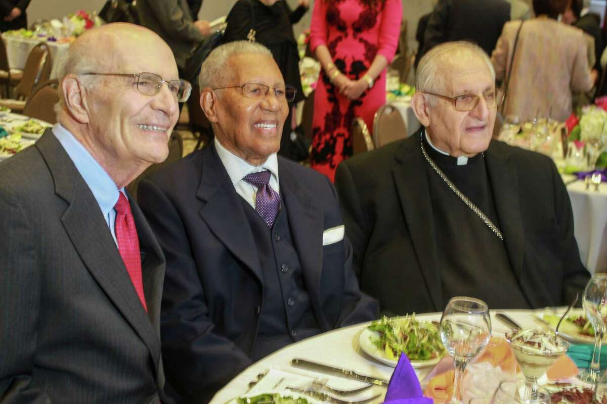 Rabbi Samuel Karff, from left, Rev. William Lawson and Archbishop Joseph Fiorenza at Interfaith Ministries for Greater Houston, for the announcement of $1 million gift from Brigitte and Bashar Kalai for a plaza of respect honoring the friendship of the Catholic, Baptist and Jewish faith leaders who collaborated for social justice in Houston.