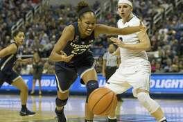 Azura Stevens, left, and the UConn women's basketball team play at DePaul on Friday.