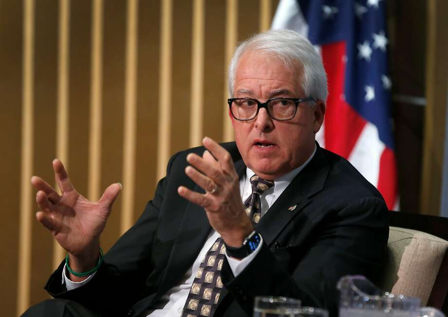 John Cox, a Republican candidate in the California gubernatorial race, meets in conversation with Public Policy Institute of California CEO Mark Baldassare in San Francisco, Calif. on Thursday, Dec. 7, 2017. Photo: Paul Chinn, The Chronicle