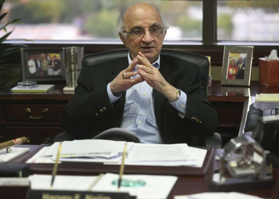 Philanthropist and businessman Harvey Najim speaks Wednesday November 8, 2017 in his office. Najim's parents wanted him to be a doctor, but he found his fortune in the computer industry. As founder of the Harvey E. Najim Foundation, Najim has given millions of dollars to area charities, most of them focused on children. Photo: John Davenport /San Antonio Express-News / ©John Davenport/San Antonio Express-News