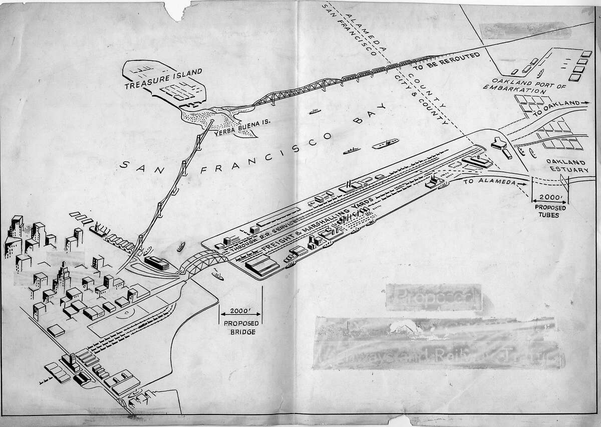 This could be the wildest second crossing plan. It begins across San Francisco Bay, just south of the Ferry building with a 2000 foot bridge, arriving at a man-made island with freight and marshalling yards, proceeding through 2000 foot tubes over to Oakland Photo ran August 19,1946, p. 3 Handout