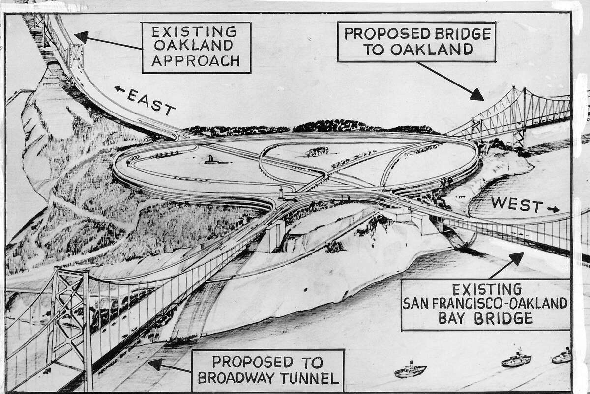 One of the proposals for second crossing across San Francisco Bay, envisioned a giant cloverleaf interchange on Yerba Buena Island with the current and new Bay Bridge intersecting there. Photo ran October 31,1950, p. 2 Handout