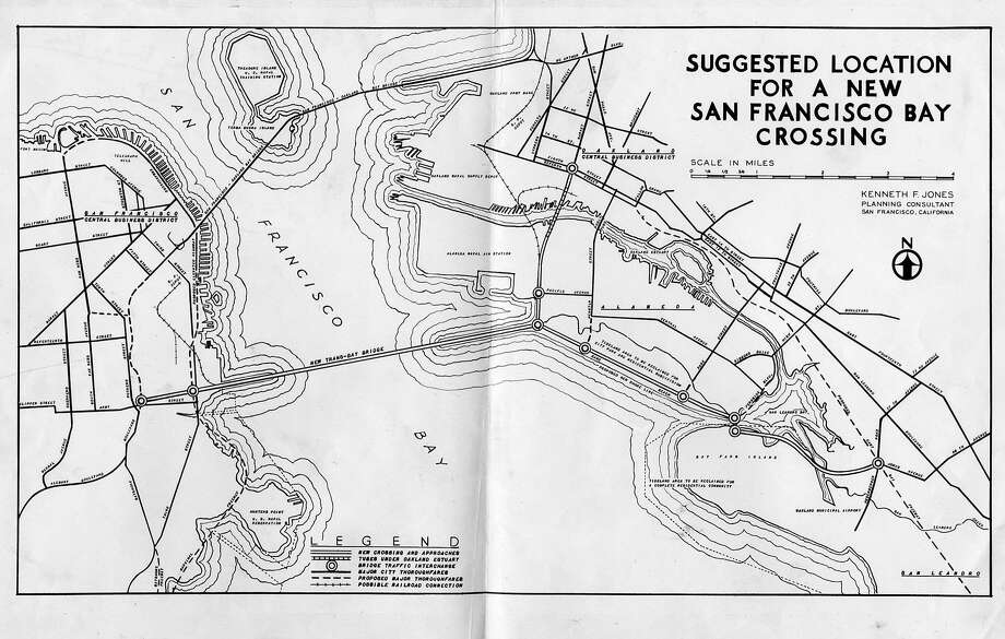 The New Trans-Bay Bridge proposal, submitted by Kenneth B. Jones to the Army-Navy board, would exit San Francisco at Army Street and arrive in the East Bay just south of the Alameda Naval Air Station.
