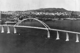 This style bridge design had been selected as a second crossing across San Francisco Bay, but soon be replaced Photo ran May 27, 1969, P. 24 Photo provided by California Division of Highways Handout