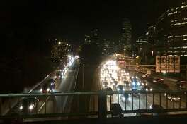 Traffic backs up on northbound Interstate 5 out of downtown Seattle.