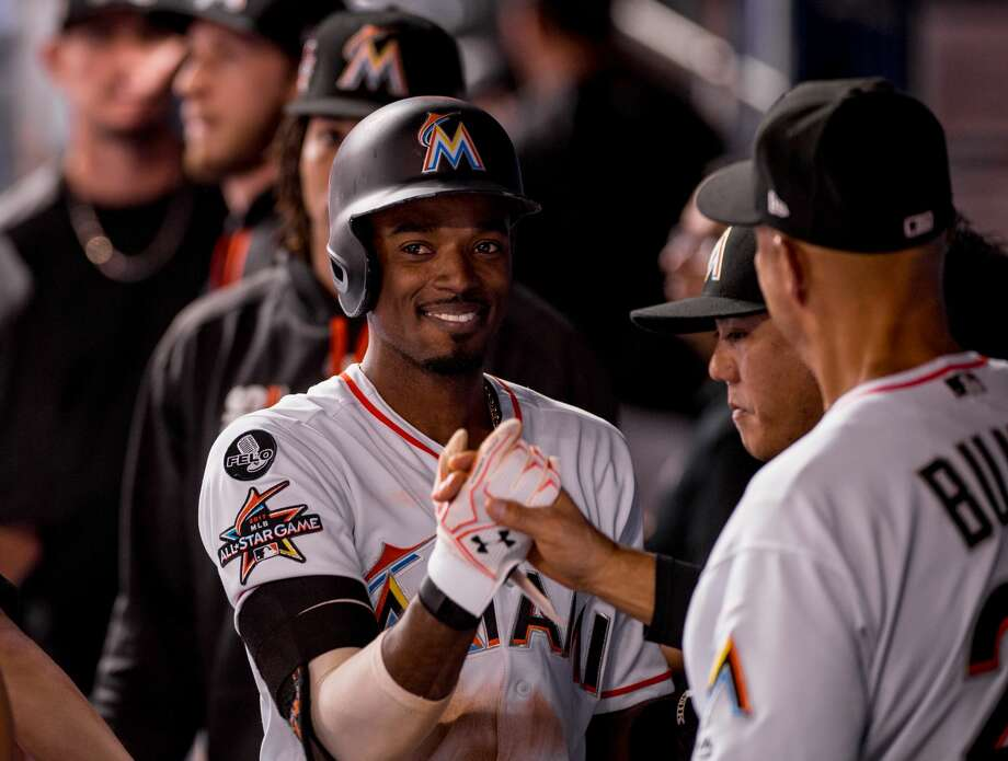 Dee Gordon of the Miami Marlins after hitting his 200th hit of the season during the game against the Atlanta Braves at Marlins Park on September 30, 2017 in Miami, Florida. (Photo by Rob Foldy/Miami Marlins)via Getty Images) *** Local Caption *** Photo: Rob Foldy/Miami Marlins/Miami Marlins Via Getty Images