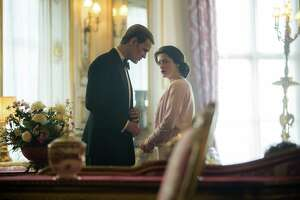 """Much strain is put on the marriage of Prince Philip (Matt Smith) and Queen Elizabeth (Claire Foy) because of his restlessness and rumored infidelity in """"The Crown,"""" season 2 on Netflix."""