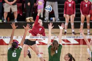 STANFORD, CA -- December 5, 2017.  The Stanford Cardinal women's volleyball defeats the Colorado State Rams 3-0 at Maples Pavilion in the NCAA tournament.