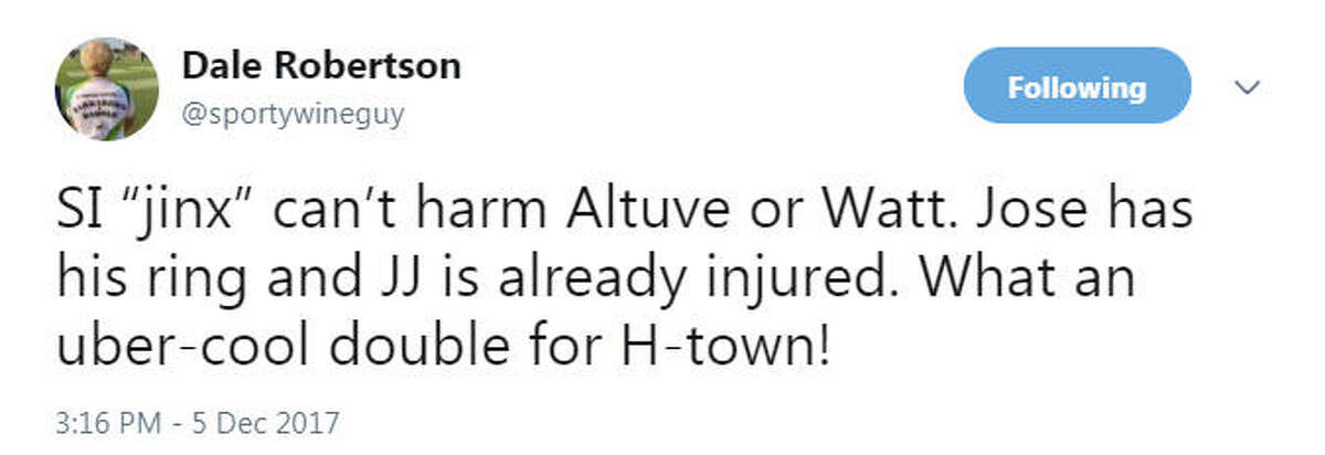How many towns would sell their civic souls to be able to claim J.J. Watt, Jose Altuve and James Harden as their own? Too many dues have been paid by the local fan base over the years, but we are now clearly in the golden age of Houston sports, notwithstanding all those Texans injuries - Watt's conspicuous among them. I'll never whine again, I promise. Pinch yourself. We got it good right now.