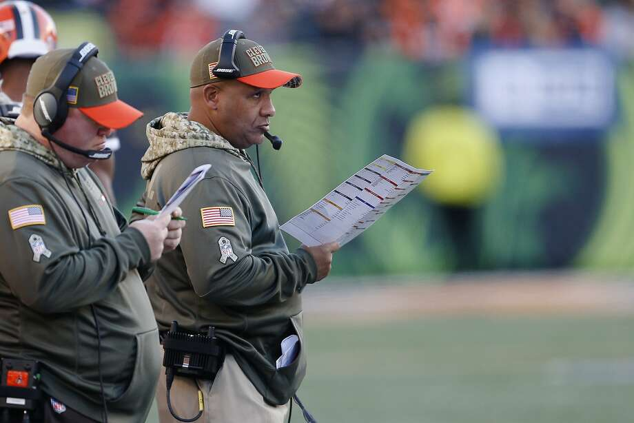 Hue Jackson will coach the Browns again in 2018, despite being 1-27 in Cleveland. Photo: Gary Landers, Associated Press