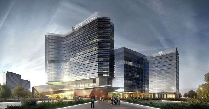 A rendering of the two-building hospital at the CHI St. Luke s Health-Baylor St. Luke s Medical Center McNair Campus.