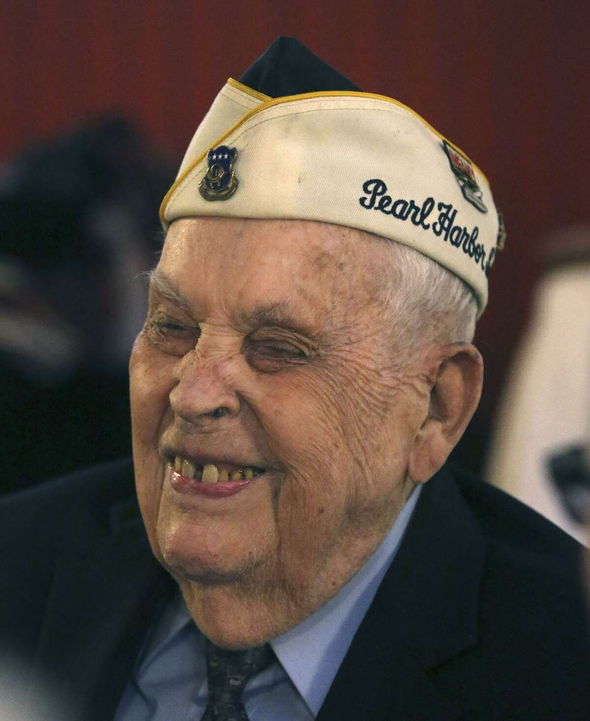 Pearl Harbor survivor Kenneth Platt, then 96, laughed at last year's lunch held in honor of Pearl Harbor survivors at the Barn Door restaurant.