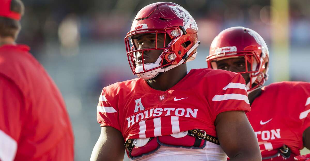 Houston defensive tackle Ed Oliver (10) goes through team warmups before an NCAA college football game at TDECU Stadium on Saturday, Oct. 7, 2017, in Houston, Texas. (Joe Buvid / For the Houston Chronicle)