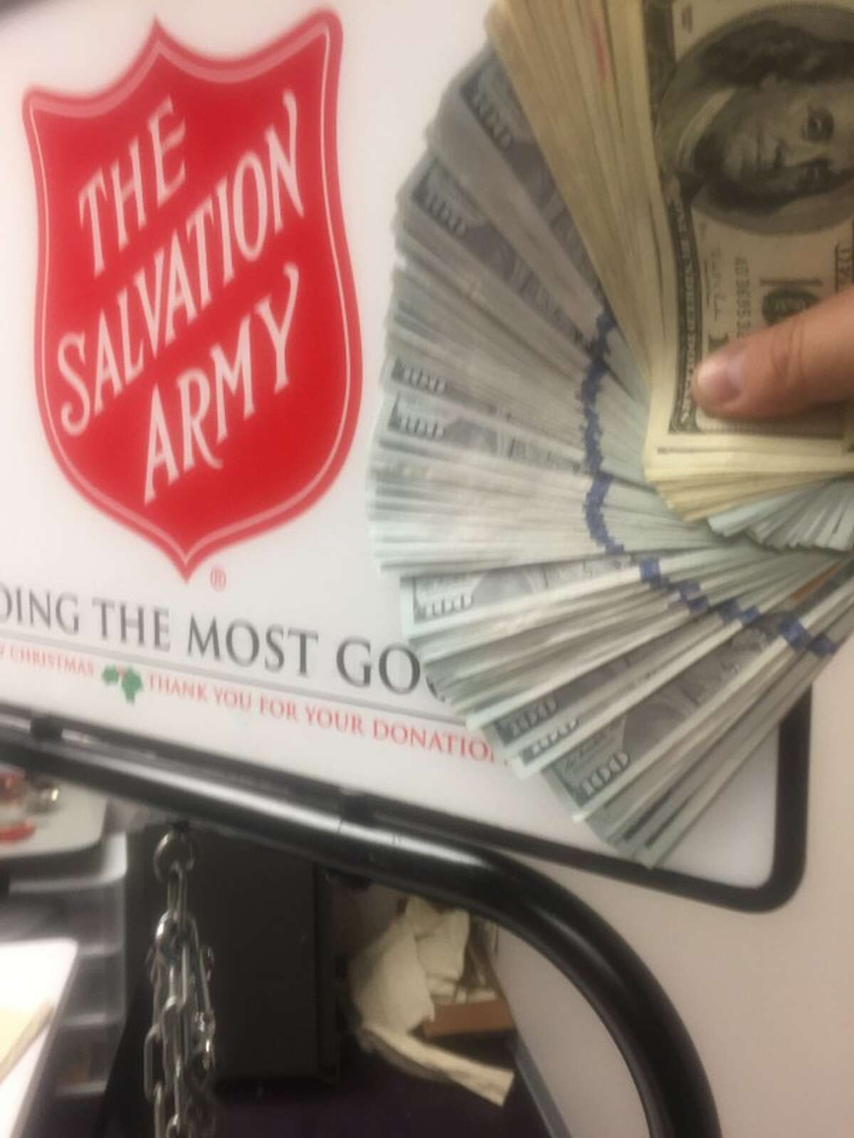 An anonymous donor dropped $10,000 in a Salvation Army donation bucket in North Portland on Tuesday.