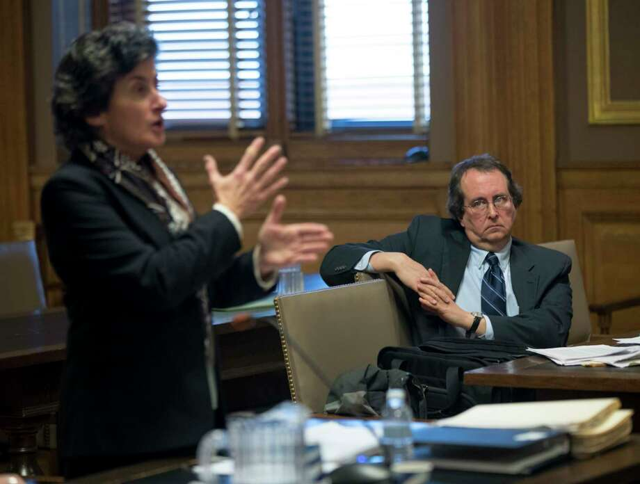 """Attorney John Caffry, right, representing the environmental group Protect the Adirondacks, looks on as Assistant Attorney General Loretta Simon speaks during a hearing at state Supreme Court on Monday, Dec. 5, 2016, in Albany, N.Y. The definition of a tree is at the heart of a lawsuit claiming new snowmobile trails being carved through the Adirondack forest violate the """"forever wild"""" clause of New York's constitution. (AP Photo/Mike Groll) Photo: Mike Groll / Copyright 2016 The Associated Press. All rights reserved."""