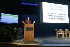 Keynote speaker Katherine Hayhoe, an expert on climate change and professor at Texas Tech University, addresses an audience at Buena Vista Theater at UTSA's Downtown Campus in 2017.
