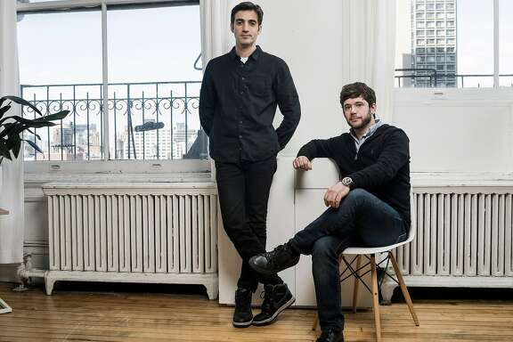 Rus Yusupov, left, and Colin Kroll, co-founders of HQ Trivia, in New York, Dec. 1, 2017. Its success with live-streaming video on phones � an area in which Facebook and Twitter have heavily invested, with mixed results � has the technology and media worlds buzzing. (Sasha Maslov/The New York Times)