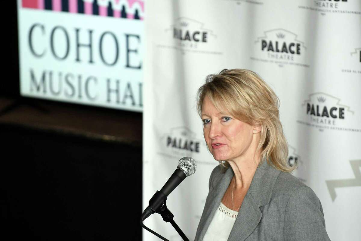Palace Theatre Executive Director Holly Brown speaks about the Cohoes Music Hall's first season of programming and other initiatives on Thursday July 28, 2016 in Cohoes, N.Y. (Michael P. Farrell/Times Union)