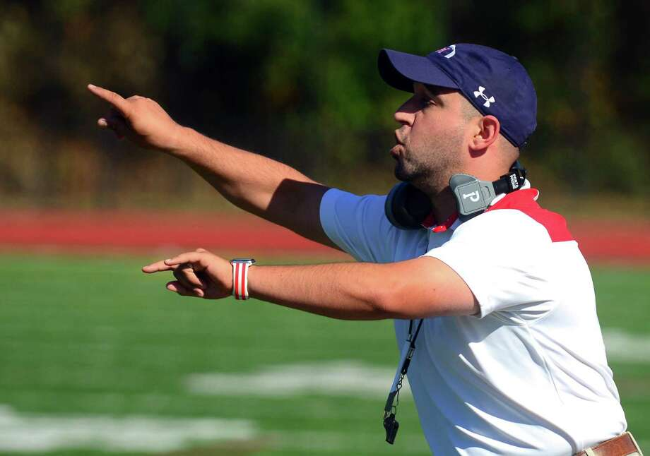 Brien McMahon Head Coach: AJ Albano during football action against Central in Bridgeport, Conn. on Saturday Oct. 21, 2017. Photo: Christian Abraham / Hearst Connecticut Media / Connecticut Post