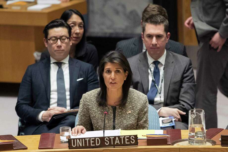 FILE - In this Nov. 29, 2017, file photo, Nikki Haley, U.S. ambassador to the United Nations, speaks during a Security Council meeting on the situation in North Korea, at United Nations headquarters. The U.S. Olympic Committee still plans on bringing teams to the Pyeongchang Games in February despite U.N. Ambassador Nikki Haley casting doubt on U.S. participation. In an interview Wednesday, Dec. 6, 2017, with Fox News Channel, Haley was asked if it's an open question about whether the U.S. team will compete at the Olympics in South Korea, given the tensions on the Korean Peninsula. (AP Photo/Mary Altaffer, File) ORG XMIT: NY198 Photo: Mary Altaffer / Copyright 2017 The Associated Press. All rights reserved.