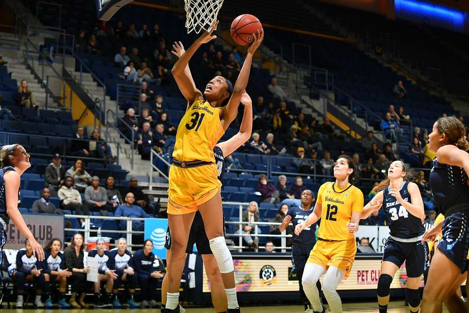 Cal Forward Kristine Anigwe (#31) looks to score during a game between the University of California Berkeley and University of San Diego at Haas Pavilion in Berkley, California on Thursday December 7, 2017.