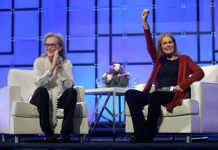 Academy Award-winning actress Meryl Streep, left, and feminist icon Gloria Steinem appear before an audience, Thursday, Dec. 7, 2017, during the 13th annual Massachusetts Conference for Women, in Boston. The conference opened Thursday against a backdrop of expanding allegations of sexual misconduct against prominent men in Hollywood, politics and the media. (AP Photo/Steven Senne) ORG XMIT: MASR105 Photo: Steven Senne / Copyright 2017 The Associated Press. All rights reserved.
