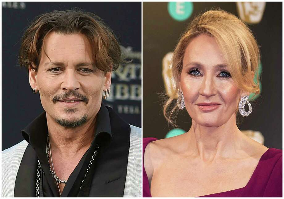 """In this combination photo, Johnny Depp appears at the Los Angeles premiere of """"Pirates of the Caribbean: Dead Men Tell No Tales"""" on May 18, 2017, left, and  J.K. Rowling appears at the BAFTA Film Awards in London on Feb. 12, 2017. Rowling is voicing her support for Depp and his casting in an upcoming sequel to """"Fantastic Beasts and Where to Find Them."""" The author published a statement on her website Thursday. Some """"Harry Potter"""" fans have said they would boycott """"Fantastic Beasts: The Crimes of Grindelwald"""" after Depp's ex-wife Amber Heard said during their divorce that Depp had hit her.  (Photos by Jordan Strauss, left, and Vianney Le Caer/Invision/AP, File) ORG XMIT: NYET401 / AP"""