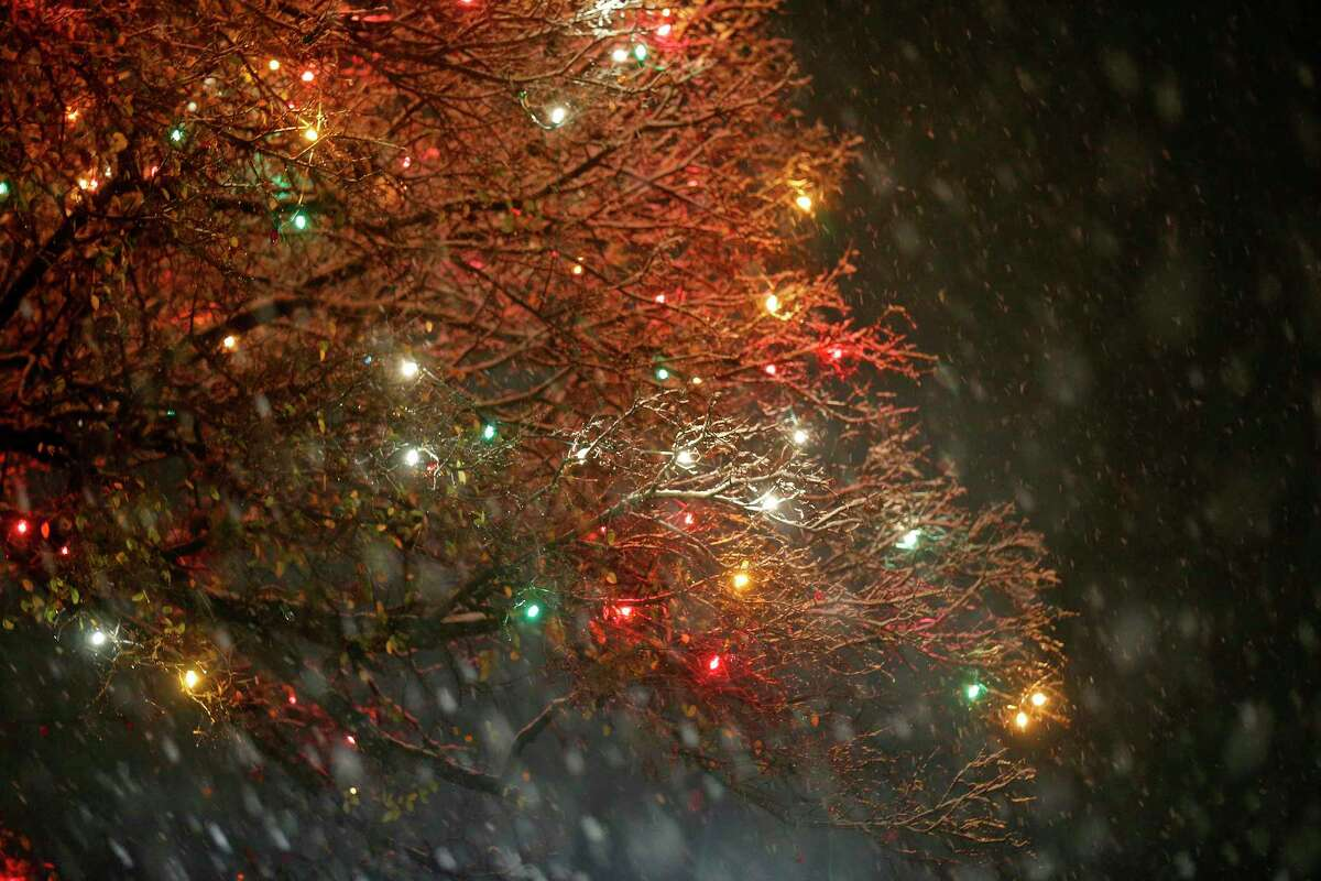 A view of Christmas lights, part of the University of the Incarnate Word?•s 31st annual Light the Way, and snow Thursday Dec. 7, 2017.