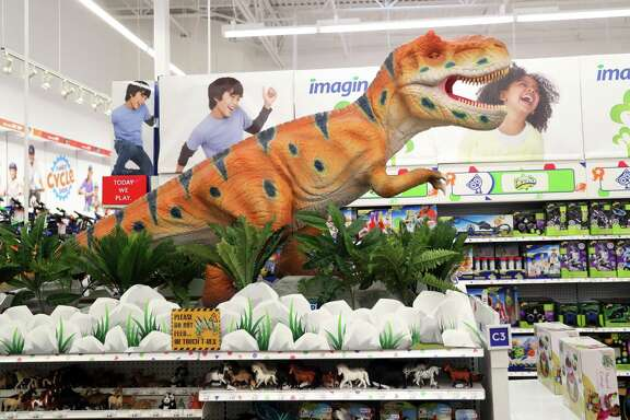 An animatronic T-Rex at Toys R Us in Concord on Tuesday, November 21, 2017.