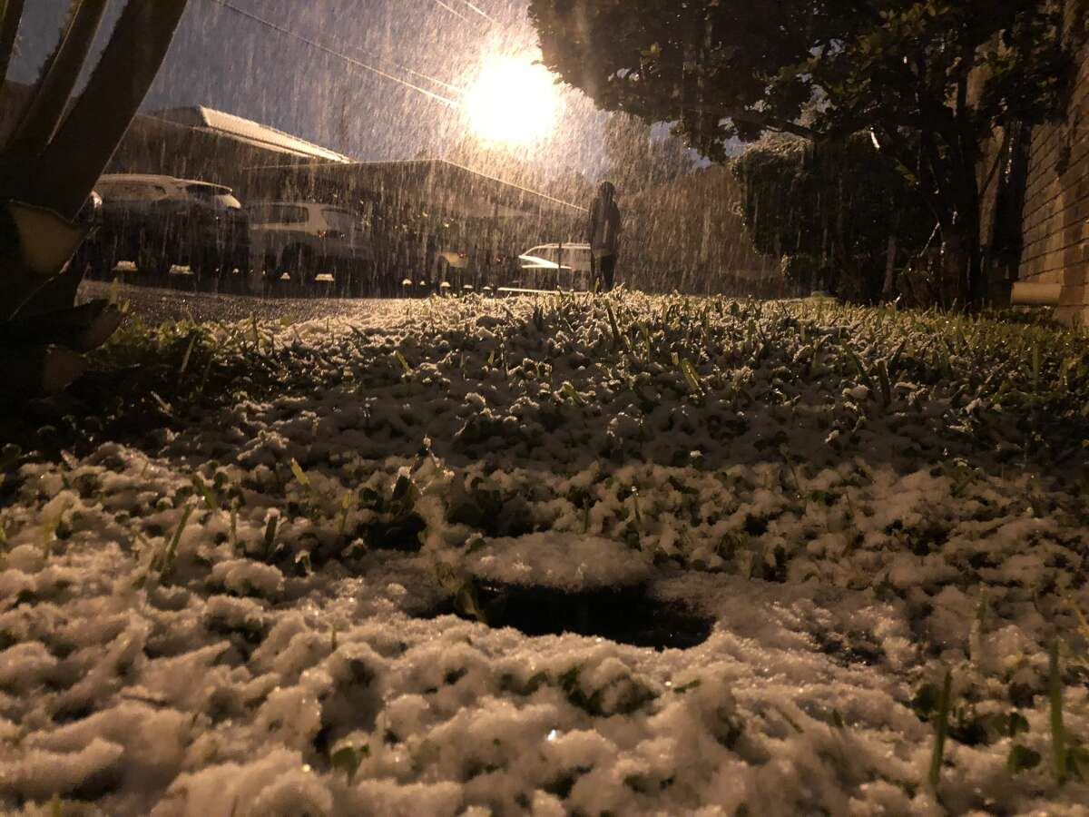 Snowfall begins to accumulate on the grass in central Laredo on Dec. 7, 2017.