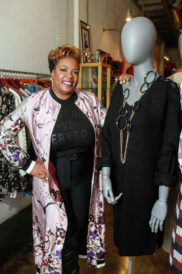 Jackie Adams, owner of Melodrama Boutique.   (For the Chronicle/Gary Fountain, November 27, 2017)