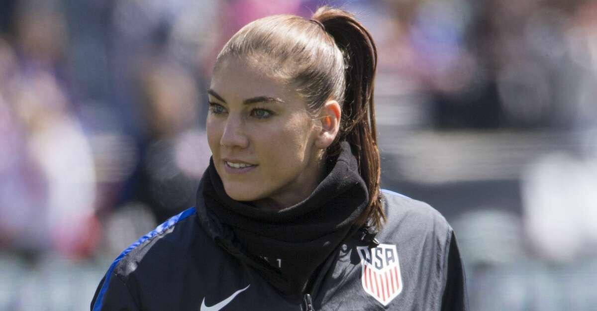 FILE - In this April 10, 2016, file photo, United States' Hope Solo waits for the team's international friendly soccer match against Colombia in Chester, Pa. Former national team goalkeeper Solo says she's running for president of U.S. Soccer. Solo made the announcement Thursday night, Dec. 7, 2017, on Facebook. It comes less than a week after current U.S. Soccer Federation President Sunil Gulati said he will not seek a fourth term. His decision came in the wake of the October failure of the U.S. men's team to qualify for the 2018 World Cup. (AP Photo/Chris Szagola, File)