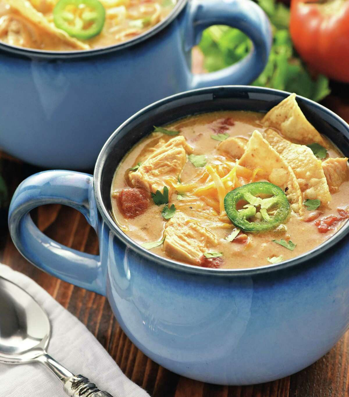 """King Ranch Chicken Soup is a perfect cold weather soup. The recipe is from """"Real Food Slow Cooker Suppers"""" by Samantha Skaggs (Page Street Publishing)."""